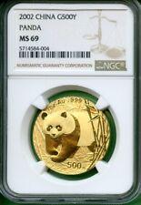 PANDA GOLD CHINA 2002   1 OZ  NGC MS 69