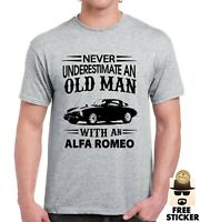 Alfa Romeo T-shirt Funny Old Man Car Gift Tee For Fathers Dad Men's Top S - 4XL