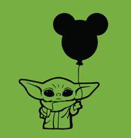 Baby Yoda Micky Mouse Balloon shirt Star Wars Disney Vacation Disneyland jedi
