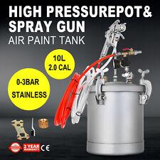 2.5 Gallon High Pressure Pot Paint Sprayer Painter 3/8 Fluid Outlet Dual Hose
