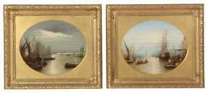 19th century views London, the Thames, houses parliament, pair Francis Maltino