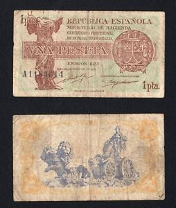 Spagna / Espana - 1 peseta Ministerio de Hagienda 1937 (Civil War)  A-05