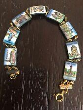 Slovenia Sweden Denmark Etc. Vintage Enameled Bracelet Souvenir Travel