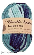 3 x 100g - Chenille Knitting Crochet Yarn Thick and Soft - Teal Blue Mix