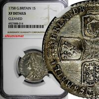 Great Britain George II Silver 1758 1 Shilling NGC XF DETAILS Toning KM# 583.3