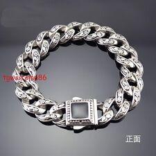 Stainless Steel Heavy Wristban Mens Big Stone Cuban Flower Bike Chain Bracelet