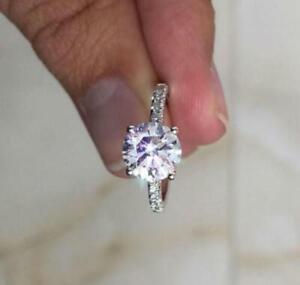 0.74 Ct Round Beautiful Natural Diamond Engagement Ring 14K White Gold Rings