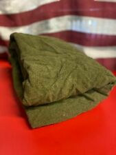 Vintage Us Army Wool Blanket Olive Green 84� x 66� Logo Field Bed Military