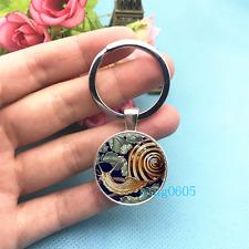 Snail Shell Art Photo Tibet Silver Key Ring Glass Cabochon Keychains -467
