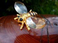 wunderschöne Kristall Glas Miniatur Figur Biene 5 cm Metall goldfarbend