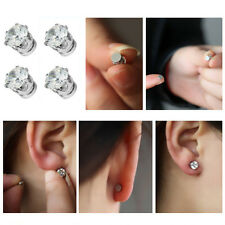 Magnetic Crystal Round Earrings Non Piercing Clip On Women Men Kids