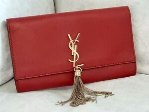 Saint Laurent Kate Tassel Clutch Bag In Grain De Poudre Embossed Leather Womans