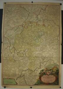 FULDA HESSEN GERMANY 1720 HOMANN LARGE ANTIQUE COPPER ENGRAVED MAP IN TWO SHEETS