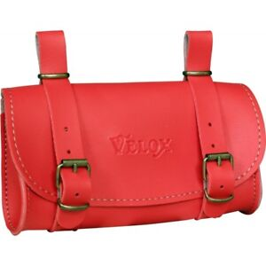 Saddlebag Saddle Red VELOX IN PU Leather Vintage Bike Bicycle