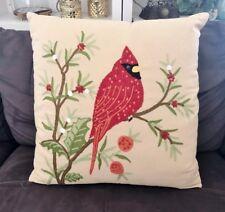 """Pier 1 One Christmas Cardinal Bird Pillow Cover 20"""" Square"""