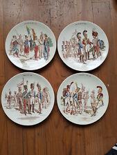 4 assiettes  faïence de Sarreguemines Soldats  Napoléon,louis XVIII,Charles X...