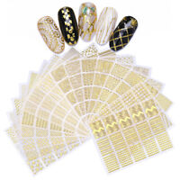 Gold 3D Nail Stickers Adhesive Geometric Nail Art Decals Tips Decoration