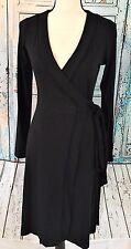 Banana Republic Women's Long Sleeve Black Wrap Dress Cocktail Evening Sz XS New