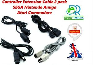 Controller Extension Cable 1.8m Nintendo SEGA Atari Amiga Commodore 2 Pack - UK