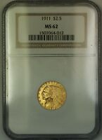 1911 $2.50 Indian Quarter Eagle Gold Coin NGC MS-62
