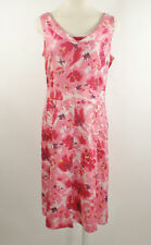 Ann Taylor Sz 10 Pink Red floral print Cowl Neck Pleated Flare Hem Silk Dress