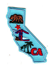 """""""CA"""" - CALIFORNIA STATE SHAPE - Iron On Embroidered Patch/Southwest, Palms, Bear"""