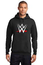 New WWE World Wrestling Entertainment White/Red Logo Black Hoodie Mens John Cena