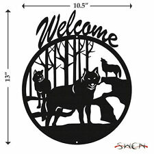 Swen Products Wolf Wildlife Coyote Black Metal Welcome Sign