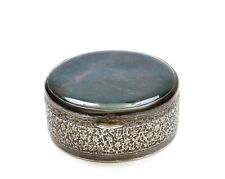 Old Persian Sterling Silver Box Moss Agate Carved Carving Top