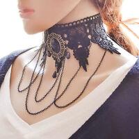 Women Punk Black Lace Flower Tassel Chain Choker Collar Necklace Gothic Jewelry
