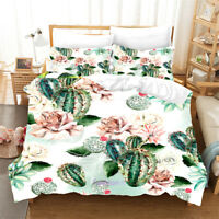 Linen Cactus Floral Duvet Doona Quilt Cover Set Single/Double/Queen/King Bed
