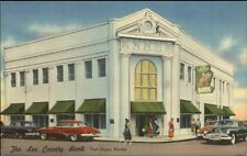 Fort Myers FL County Bank Colorful Linen Postcard
