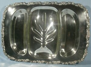 VINTAGE ONEIDA SILVER PLATE FOOTED 3-SECTION MEAT TRAY w/'JUICE WELL'