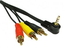 3m Gold Plated 90° 3.5mm 4 Pole Jack Plug to Triple 3  Phono  AV Cable Composite