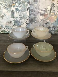 VINTAGE FRENCH ARCOPAL IRIDESCENT HARLEQUIN SET OF 4 CUPS & SAUCERS PEARLESCENT