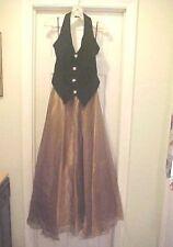 Womens Size XL Formal Gown Black Velvet Halter Top Long Gold 3 Layer Skirt Prom