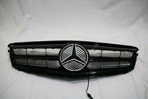 Full BLACK Grill For Mercedes-Benz C Class W204 + LED Emblem C300 C350 2008-14