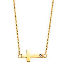 14K Yellow Gold Diamond SideWays Cross Necklace Set Rolo Chain Charm Women