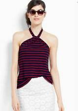 Ann Taylor Halter Top Womens L Large Rope Stripe Summer Blouse Red/Navy
