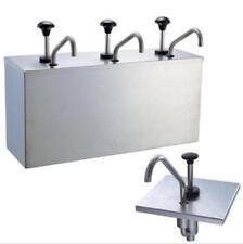 New 3 Bucket Sauce Dispenser Pump Squeeze Condiment Dispensing Stainless Steel Y