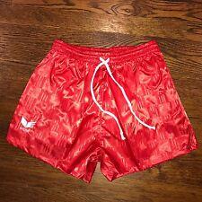 "NEW Red Erima CHECKERED Mens MEDIUM Soccer 3"" Inseam Nylon SHINY vtg 80s shorts"