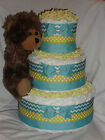 Blue and Yellow Diapercake with Shining Star Bear