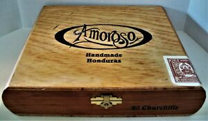Wood Amorosa Dovetailed Cigar Box w 9 Clay Pipes + 9 Packs of Alsbo Tobacco
