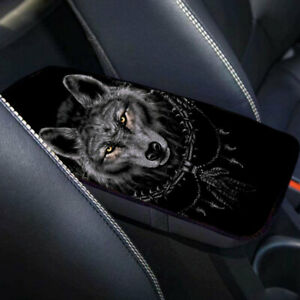 32*19cm Universal Protect Car Armrest Pad Console Box Cushion Mat Wolf Pattern