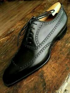 Handmade Mens Black Brogue Dress Leather Shoes, Lace Up Formal Leather Men Shoes