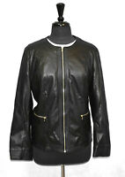 A5 NWT CHICOS Black Faux Leather Gold Tone Zippers Jacket Size 3 US 16/18 $159