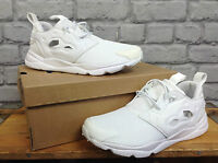 REEBOK MENS FURYLITE WHITE CLASSIC TRAINERS UK 3.5 / 6 / 8 / 8.5 / 9 / 10 / 11