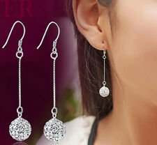 Elegant Womens Silver Hook Earrings Disco Ball Long Drop Dangle Earrings Jewelry