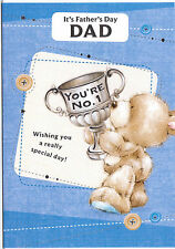 It's Father's Day Dad You're No. 1 Card. Teddy Holding A Cup.