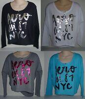 Womens AEROPOSTALE  Cropped Foiled Logo Dolman Dorm Henley Shirt NWT #9354